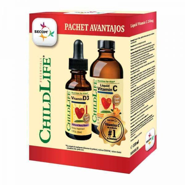 Kit de imunitate pentru copii: Vitamina C 250mg + Vitamina D3 500UI